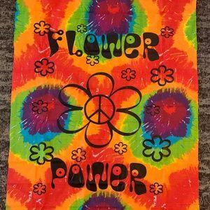 Vintage Wall Art - Tye Dye Wall Hanging Peace Flower Power